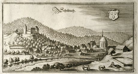 Antique Maps, Merian, Germany, Baden-Wurttemberg, Black Forest, Schiltach: Schiltach