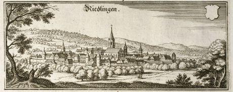 Antique Maps, Merian, Germany, Baden-Wurttemberg, Riedlingen, 1643: Riedlingen
