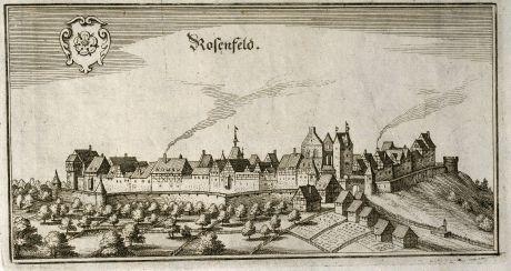 Antike Landkarten, Merian, Deutschland, Baden-Württemberg, Rosenfeld, 1643: Rosenfeld