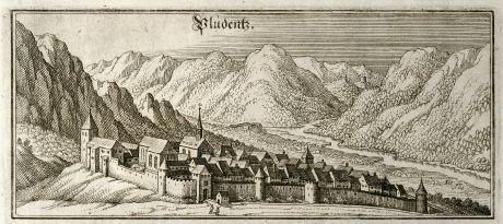 Antike Landkarten, Merian, Österreich - Ungarn, Vorarlberg, Bludenz, 1643: Pludentz
