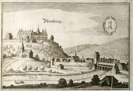 Antique Maps, Merian, Germany, Baden-Wurttemberg, Neuenburg, Enz, 1643: Newbürg