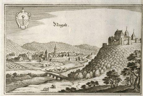Antike Landkarten, Merian, Deutschland, Baden-Württemberg, Nagold, 1643: Nagolt
