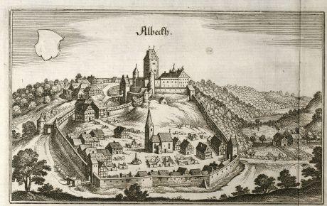 Antike Landkarten, Merian, Deutschland, Baden-Württemberg, Albeck, 1643: Albeckh