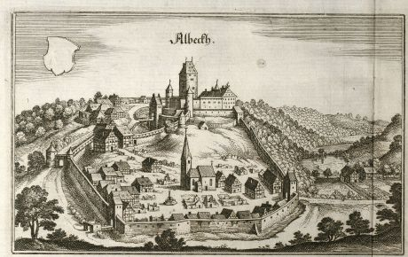Antique Maps, Merian, Germany, Baden-Wurttemberg, Albeck, 1643: Albeckh