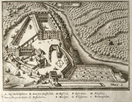 Antike Landkarten, Merian, Deutschland, Baden-Württemberg, Wolfegg, 1643: Wolfegg