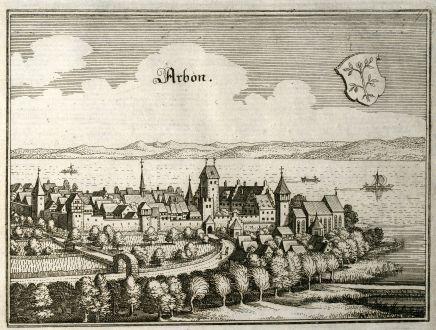 Antike Landkarten, Merian, Schweiz, Thurgau, Arbon, 1643: Arbon