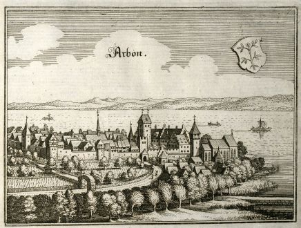 Antique Maps, Merian, Switzerland, Thurgau, Arbon, 1643: Arbon