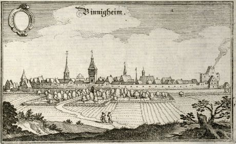 Antike Landkarten, Merian, Deutschland, Baden-Württemberg, Bönnigheim, 1643: Binnigheim