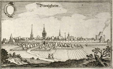 Antique Maps, Merian, Germany, Baden-Wurttemberg, Bonnigheim, 1643: Binnigheim