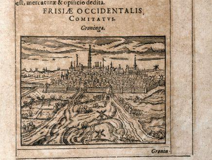 Antike Landkarten, Saur, Niederlande, Groningen, 1608: Groninga