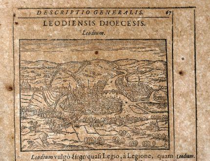Antike Landkarten, Saur, Belgien, Lüttich, 1608: Leodium