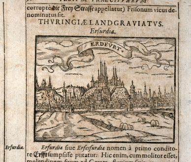 Antique Maps, Saur, Germany, Thuringia, Erfurt, 1608: Erfurdia