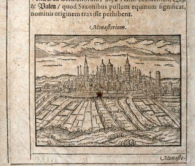 Antique Maps, Saur, Germany, North Rhine-Westphalia, Munster, 1608: Monasterium