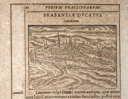 Antique Maps, Saur, Belgium, Leuven, Louvain, 1608: Louanium