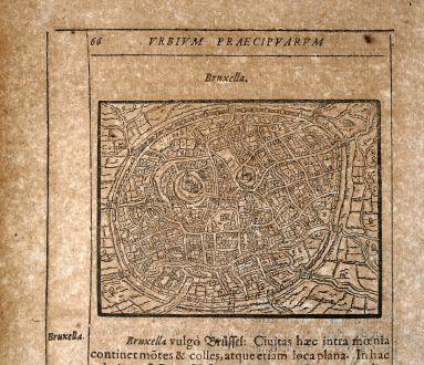 Antique Maps, Saur, Belgium, Brussels / Bruxelles, 1608: Bruxella