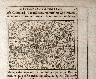 Antique Maps, Saur, Belgium, Ghent / Gent, 1608: [Gendauum]