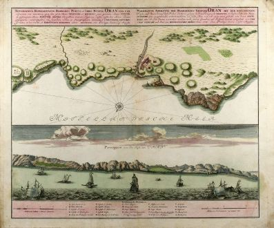 Antique Maps, Homann Erben, Oran, 1732: Topographica Repraesentatio Barbarici Portus et Urbis Munitae Oran / Wahrhaffte Abbildung der Barbarischen Vestung Oran