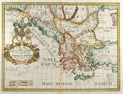 Antique Maps, Wells, Greece, 1738: A new map of antient Greece, Thrace, M½sia, Illyricum and the isles adjoyning.