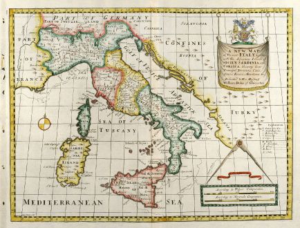 Antike Landkarten, Wells, Italien, 1738: A New Map of Present Italy, together with the Adjoyning Islands of Sicily, Sardinia, and Corsica ...