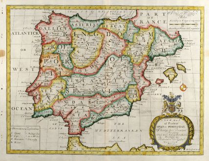 Antike Landkarten, Wells, Spanien - Portugal, 1738: A New Map of Present Spain & Portugal ...