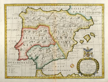 Antique Maps, Wells, Spain - Portugal, 1738: A New Map of Iberia Europaea alias Celtiberia or Ancient Spain ...