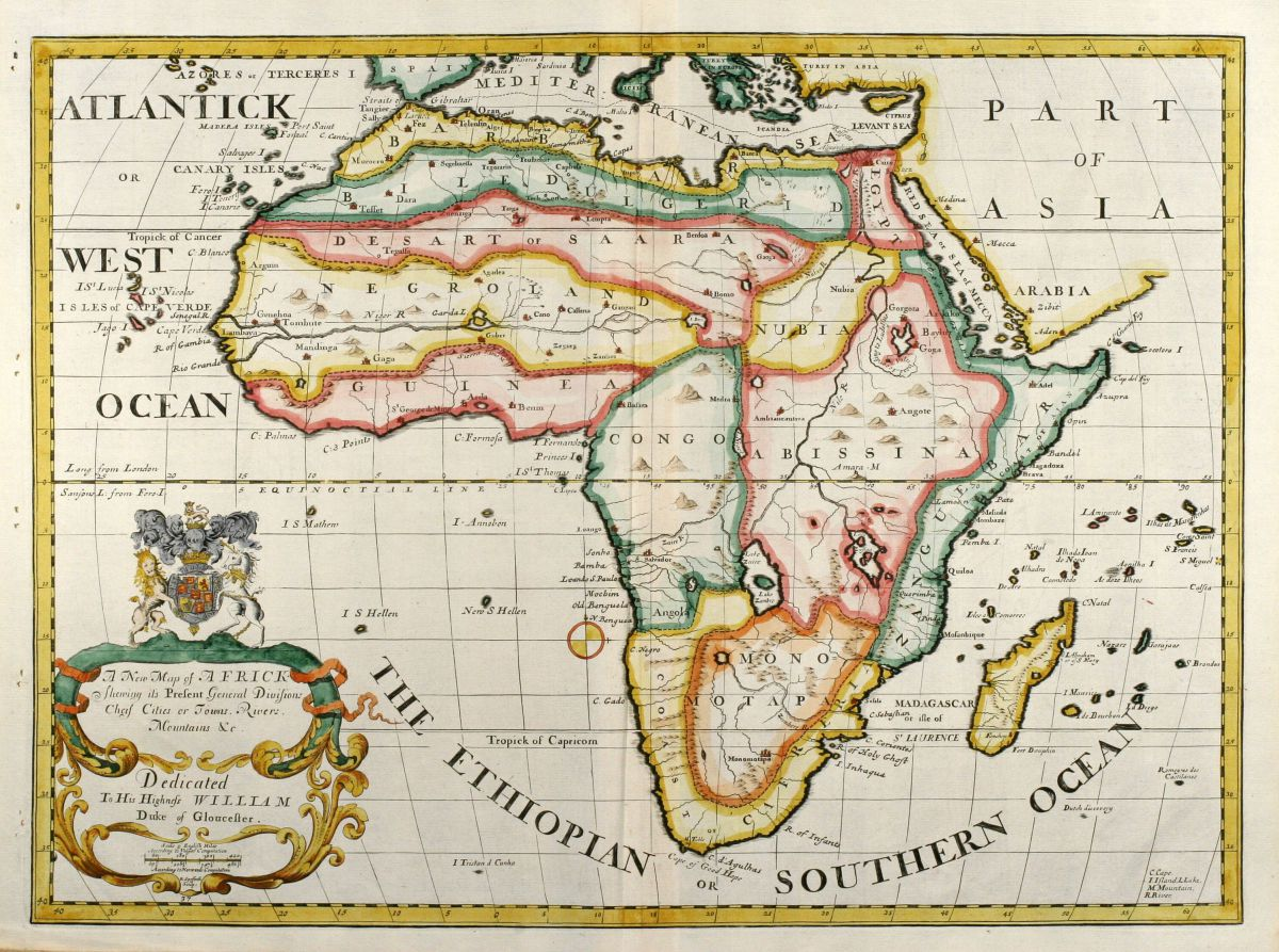 Map Of Africa 1700.A New Map Of Africk Shewing Its Present General Divisions Cheif