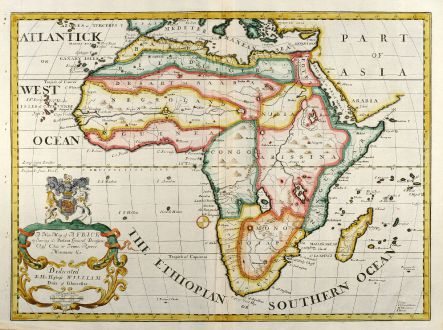 Antique Maps, Wells, Africa, 1738: A New Map of Africk Shewing its Present General Divisions Cheif Cities or Towns, Rivers, Mountains &c. ...
