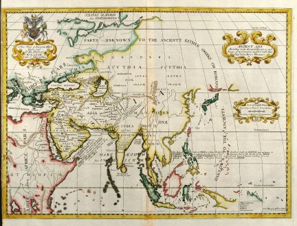 Antike Landkarten, Wells, Asien Kontinent, 1738: A New Map of Ancient Asia ...