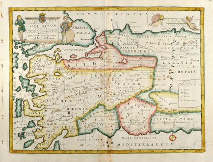 Antique Maps, Wells, Turkey, Greek Islands, West-Turkey, Bosporus, 1738: A New Map of The Western Parts of Asia Minor ...
