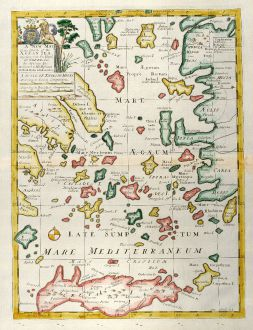 Antique Maps, Wells, Greece, Aegean Sea, Crete, 1738: A New Map of the Islands of the Aegaean Sea, together with the Island of Crete, and the Adjoining Isles.