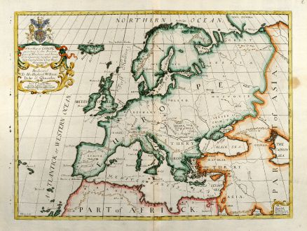 Antike Landkarten, Wells, Europa Kontinent, 1738: A New Map of Europe according to the Present General Divisions and Names ...
