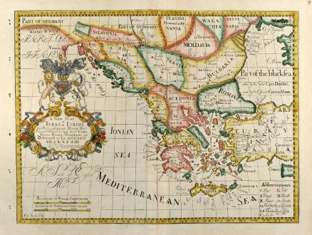 Map Of Europe And Turkey.A New Map Of Turky In Europe And Parts Of Adjoyning Wells Greece