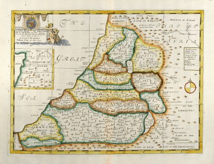 Antique Maps, Wells, Holy Land, Israel, Palestine, 1738: A New Map of the Land of Canaan...