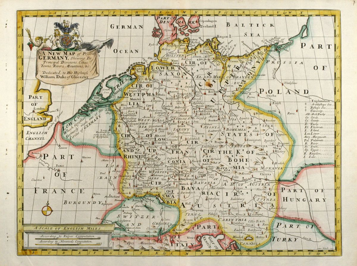 A New Map Of Present Germany Wells Germany 1738