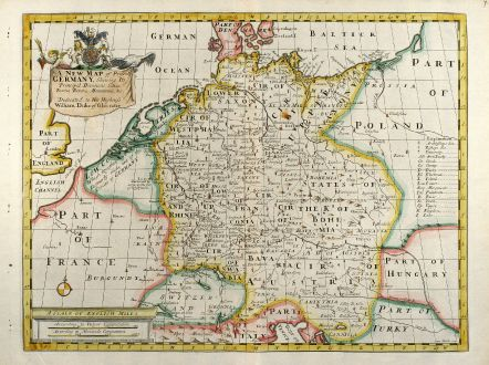 Antike Landkarten, Wells, Deutschland, 1738: A New Map of Present Germany ...