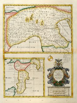 Antique Maps, Wells, Italy, North Italy, South Italy, Sicily, 1738: A New Map of Gallia Cisalpina & Graecia Magna ...