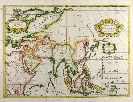 Antique Maps, Wells, Asian Continent, 1738: A New Map of Present Asia ...