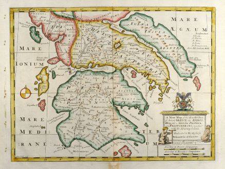 Antike Landkarten, Wells, Griechenland, Peloponnes, 1738: A New Map of the So. & Mid Parts of Antient Greece viz. Epirus, Hellas, or Graecia Propria, and Peloponnesus, together with...