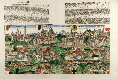 Antique Maps, Schedel, Germany, 1493: Electorum imperii institutio