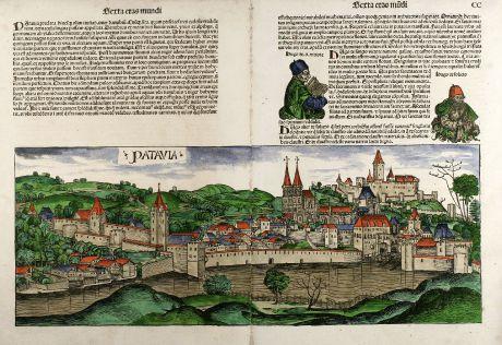 Antike Landkarten, Schedel, Deutschland, Passau, 1493: Patavia