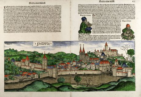 Antique Maps, Schedel, Germany, Passau, 1493: Patavia
