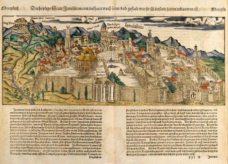 Antike Landkarten, Münster, Heiliges Land, Jerusalem, 1550: Die Heylige Statt Jerusalem ...