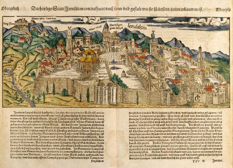 Antique Maps, Münster, Holy Land, Jerusalem, 1550: Die Heylige Statt Jerusalem ...