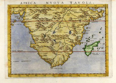 Antike Landkarten, Ruscelli, Südafrika, Südafrika, 1562: Africa nuova tavola