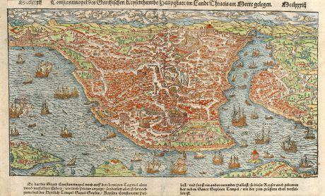 Antique Maps, Münster, Turkey, Constantinople, Istanbul, 1550: Constantinopel des Griechischen Keyserthumbs Hauptstatt, im Lande Thracia am Meere gelegen