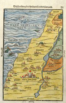 Antike Landkarten, Bünting, Heiliges Land, Palästina, Israel, 1581: Beschreibung des heiligen Landes Canaan