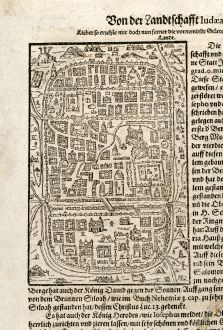 Antique Maps, Saur, Holy Land, Jerusalem, 1595: [Von der Landtschafft Iudaea]