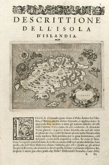 Antique Maps, Porcacchi, Iceland, 1575: Islanda