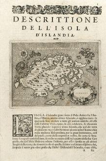 Antike Landkarten, Porcacchi, Island, 1575: Islanda