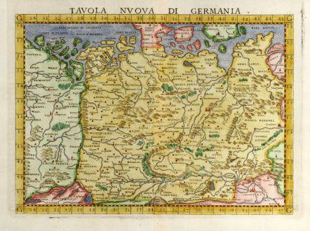 Antike Landkarten, Ruscelli, Deutschland, 1561: Tavola nuova di Germania